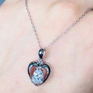 Jewelry - Sterling Silver Open HEART love CZ Necklace